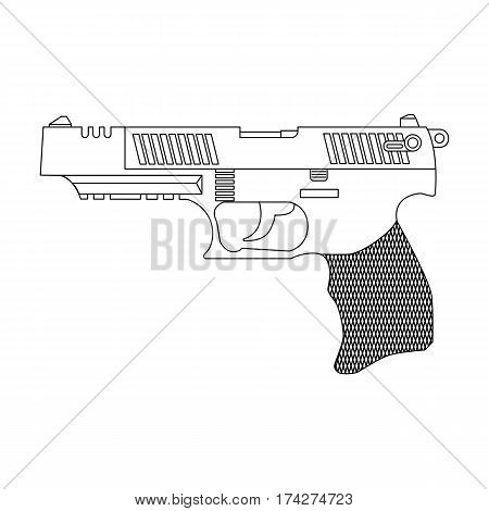 Modern gun battle in a linear style on a white background for use as logos on cards in printing posters invitations web design and other purposes.