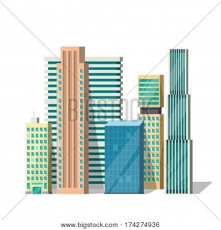 Buildings vector illustration isolated on white, modern city building downtown flat style