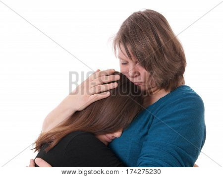 mother comforting her daughter, isolated on white