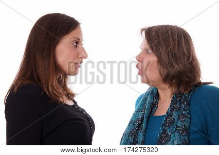 mother and daughter having a disgreement, isolated on white