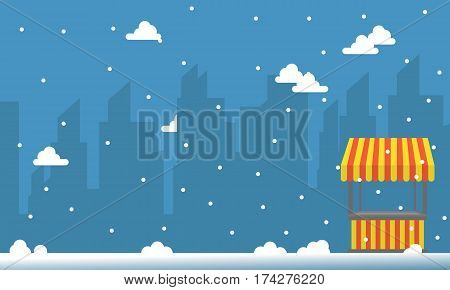 City background with snow and street stall collection stock