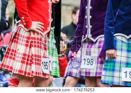 Highland dancer at highland games in scotland, UK