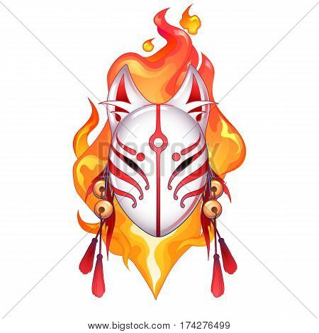 Graphic deamon fox mask drawn in red and white colors with fire flame on background. Traditional attribute of japanese folklore