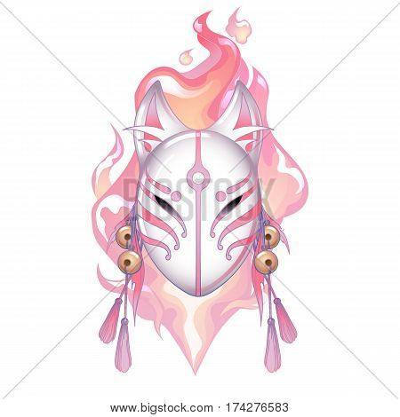 Graphic deamon fox mask drawn in pastel pink and white colors with fire flame on background. Traditional attribute of japanese folklore