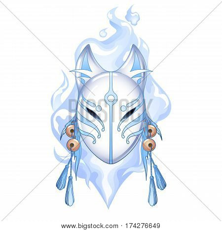 Graphic deamon fox mask drawn in pastel blue and white colors with fire flame on background. Traditional attribute of japanese folklore
