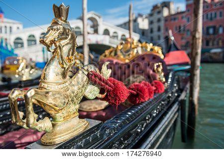 Sea Horse on Gondola, under the Venice's Rialto Bridge