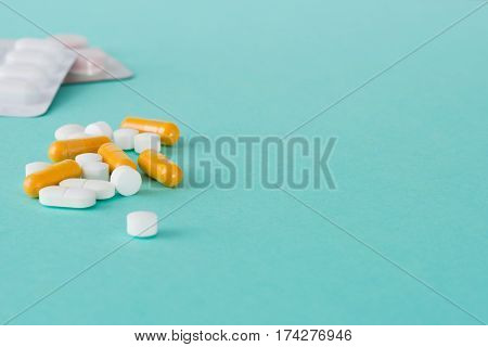 Medicinal Pills, Capsules, And Blister Pack With Copy Space