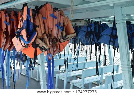 Life jacket on the passenger boat to help the passenger can float on the water when boat had an accident or capsize.