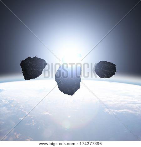 Planet, stars and asteroids - 3D render / illustration.