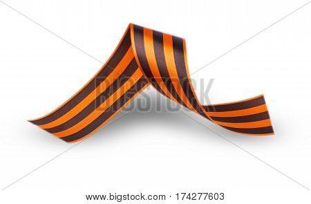 Striped victory Saint George ribbon in flat style isolated on white background.