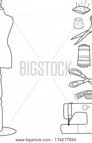 Sewing and tailoring vector background or border, Hand sewn concept, Place for your text
