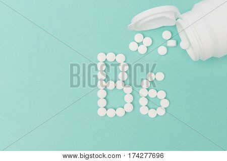 Bottle With Vitamin B6 Pills Forming The Word 'b6'