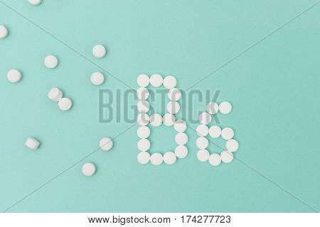 Vitamin B6 Pills Forming The Word 'b6'
