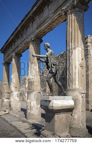 Pompeii. Statue of Apollo, Pompeii was an ancient Roman town-city near modern Naples, destroyed by the eruption of Vesuvius