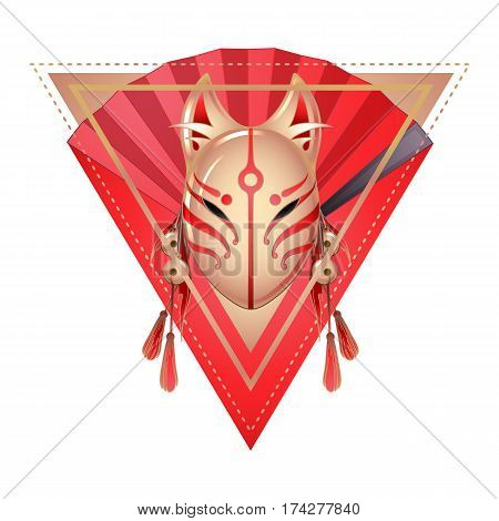 Graphic deamon fox mask with sacura flowers and red hand fan on background. Sacred triangular design. Traditional attribute of japanese folklore