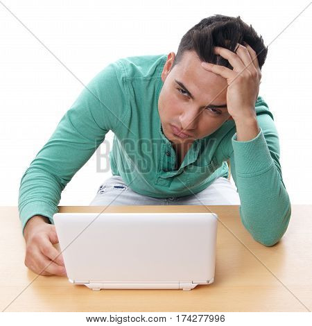 desperate man with laptop computer, isolated on white
