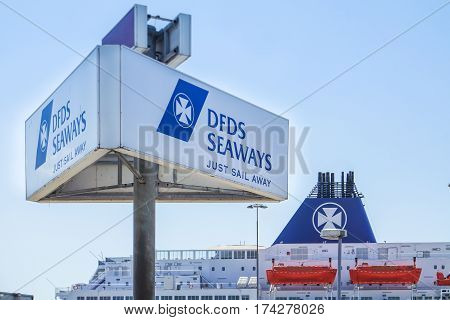 IJMUIDEN, NETHERLANDS - JUNE 12 2015 : DFDS ferry waiting for the passengers at the terminal