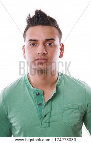 young turkish man with spiky hair, isolated on white