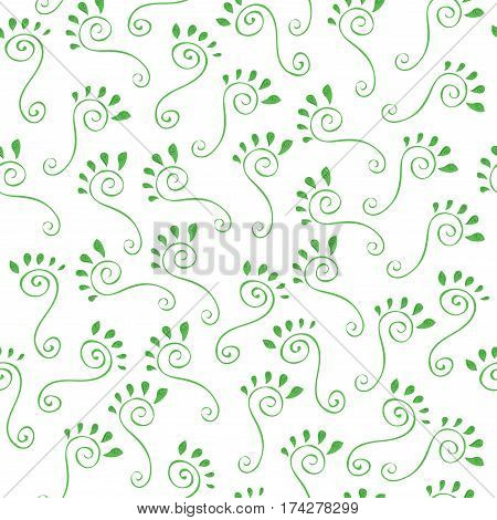 vector seamless pattern of swirls and leaves on a white background / green marks