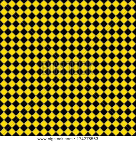 Gold Rhombus. Black Squares. Chess Background. Seamless Pattern. Vector Illustration
