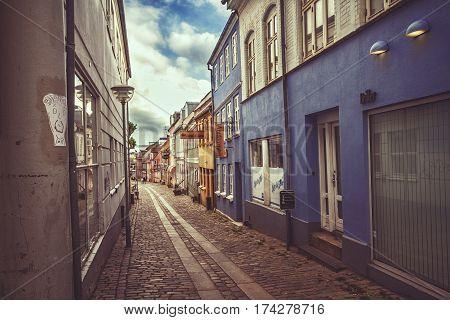 HORSENS DENMARK - JUNE 11: Street in Horsens Denmark in summer day in 2012
