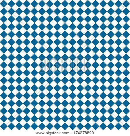 Blue Rhombus. White Squares. Chess Background. Seamless Pattern. Vector Illustration