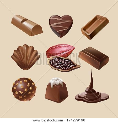 Set of icons of chocolate, liquid chocolate and cocoa beans