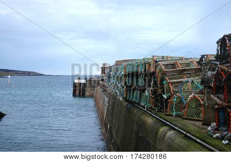 Harbour with Lobster Creels in Whitehills, Aberdeenshire