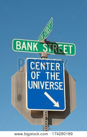 Center of the Universe sign in historical downtown of Wallace, Idaho
