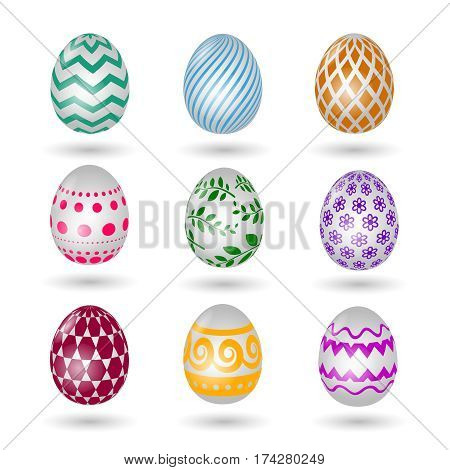 Happy easter eggs icons. Colored vector paschal egg set with decoration pattern isolated on white background. Paschal eggs with color decoration illustration