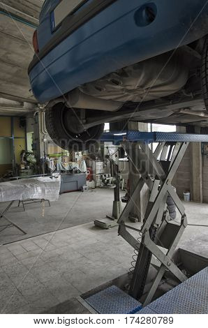 View of bodywork of car to be repaired