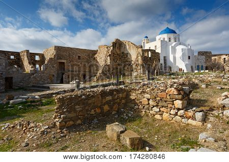Old traditional churches in Chora on Astypalea island.
