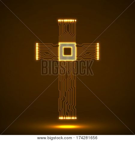 Abstract electronic circuit board in shape of cross with cpu. Christian Symbol. Vector