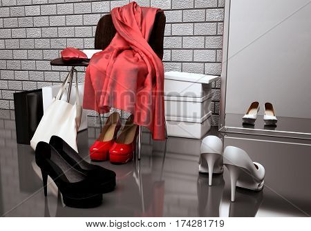 At the shoe store. Close-up of the chair red scarf bag and shopping bags while shoes lying on the floor in front of a mirror. 3D illustration