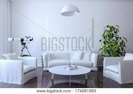 White canvas on the wall in the living room. 3d Render just place your creation on this empty canvas space.