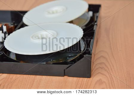 video tape recorder separate parts on desk