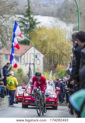 Conflans-Sainte-HonorineFrance-March 62016: The French cyclist Jerome Cousin of Cofidis Team riding during the prologue stage of Paris-Nice 2016.