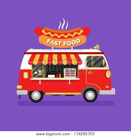 Flat design vector illustration of fast food car. Mobile retro vintage shop truck icon with signboard with big tasty hot dog. Side view, isolated. Fast or junk food, unhealthy eating concept.