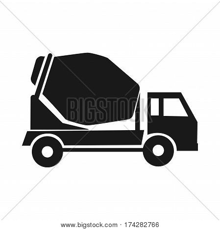 Black Icon mixer. on stroitelsvo machines. cement delivery. Industrial trucks. isolation
