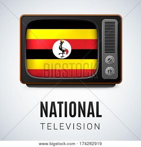 Vintage TV and Flag of Uganda as Symbol National Television. Tele Receiver with Ugandan flag