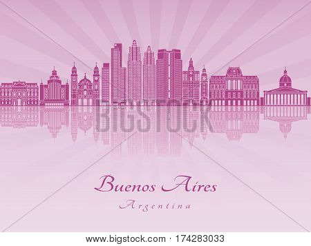 Buenos Aires V2 Skyline In Purple Radiant Orchid
