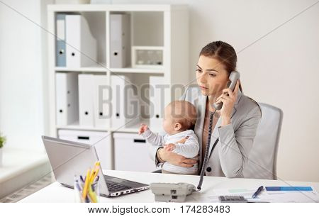 business, motherhood, multi-tasking, family and people concept - businesswoman with baby calling on phone at office