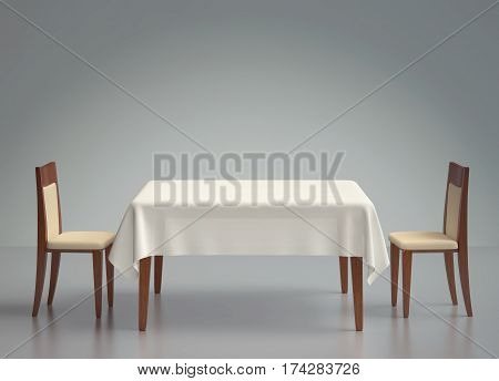 Wooden table with tablecloth and two chairs. 3D rendering