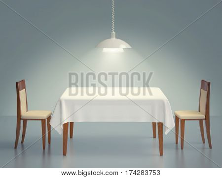 Room with wooden table two chairs and pendant lamp. 3D rendering