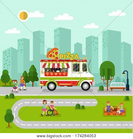 Flat design vector illustration of City landscape with cartoon fast food van. Mobile retro shop truck icon with signboard with big slice of pizza in heart shape. People spend time in park