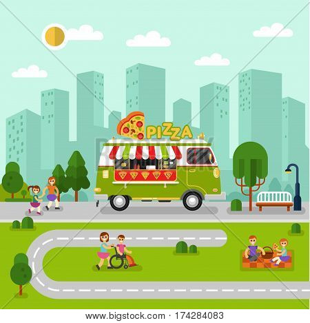 Flat design vector illustration of City landscape with cartoon fast food van. Mobile retro shop truck icon with signboard with big slice of pizza in heart shape. People spend time in park, eating