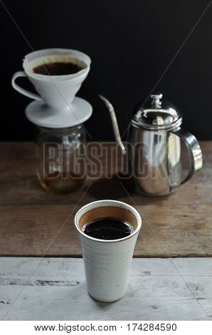 Drip Coffee Set Consist Of Dripper, Filter, Kettle And Ceramic Cup