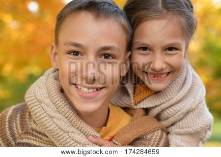 portrait of brother and sister close up