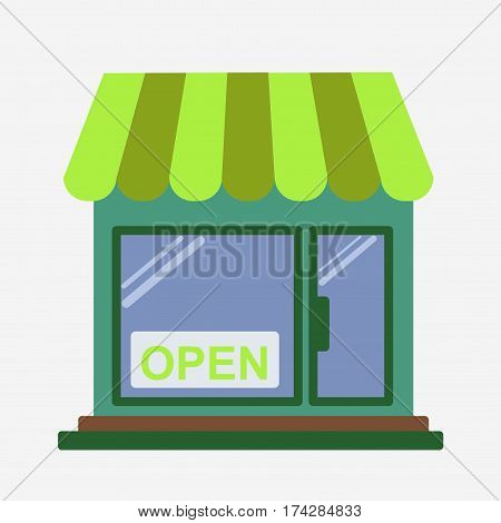 Shop front. Open store. Isolated on white ackground. Flat vector stock illustration