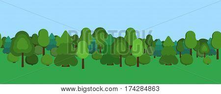 City park panoramic view. Flat vector stock illustration